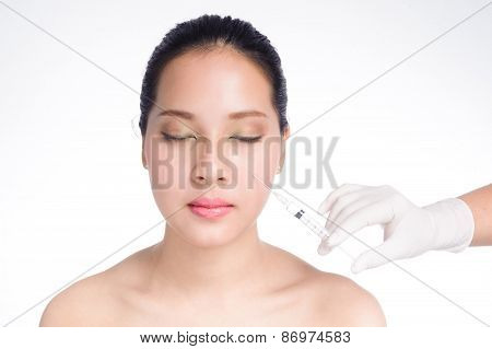 Beautiful Woman With Syringe Botox