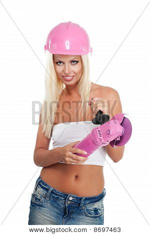 Woman With Pink Angle Grinder Tool