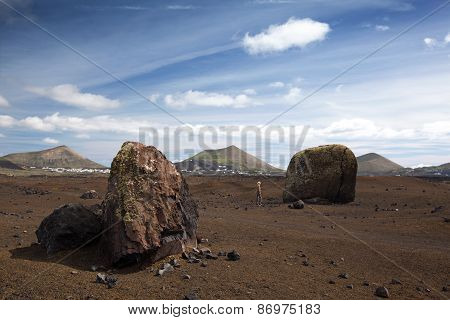 Huge volcanic bombs in Lanzarote