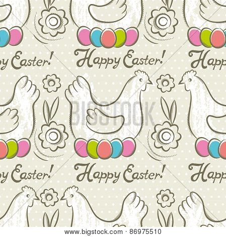 Pattern  With  Easter Eggs, Flower And Hens