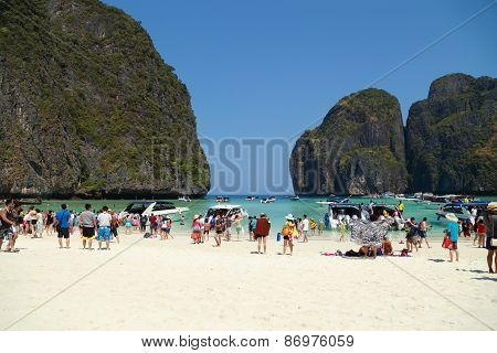 Crowds Of Visitors Enjoy A Day Trip At Maya Bay
