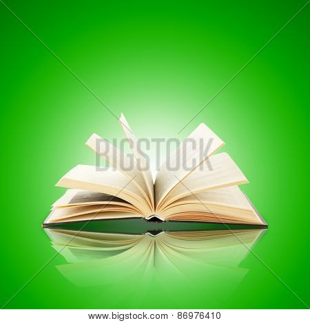 Opened book on bright green background