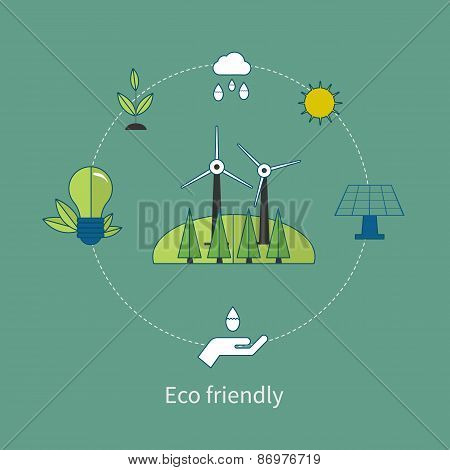 Flat design vector concept illustration with icons of eco-friendly energy