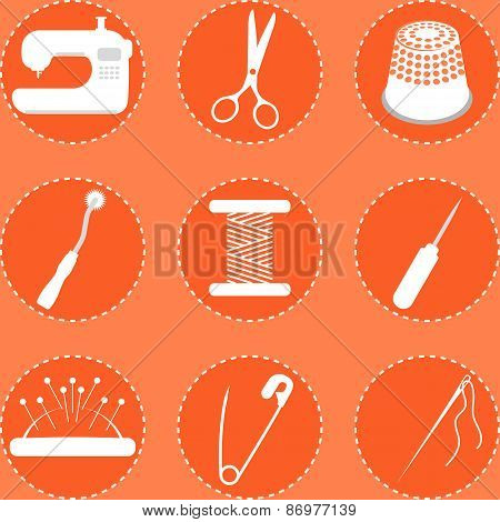 Vector illustration of sewing tools on orange background