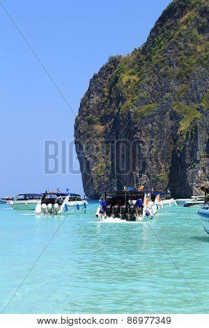 Motor Boats On Turquoise Water Of Maya Bay Lagoon