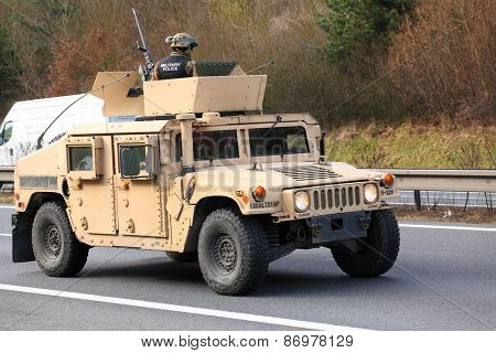 PILSEN CZECH REPUBLIC - APRIL 1, 2015:  The Humvee one part of Dragoon Ride convoy from Operation Atlantic Resolve. Longest march US Army in Europe after second world war.
