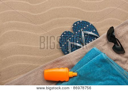 Men's Accessories For The Beach Lying On The Sand