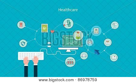 Set of flat design vector illustration concepts for health care, first aid, online medical services