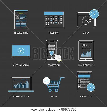 Flat design modern vector illustration concept for planning, programming, video marketing, protectio