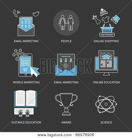Flat design modern vector illustration concept for online shopping, mobile marketing, e-commerce, aw