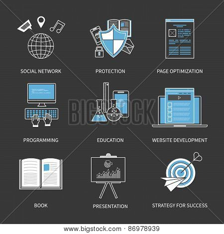 Flat design modern vector illustration concept for social network, protection, page optimization, pr