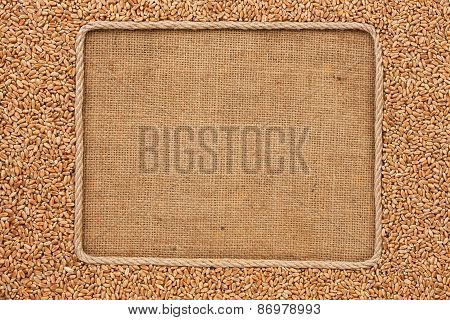 Frame Made Of Rope With Wheat Grains On Sackcloth