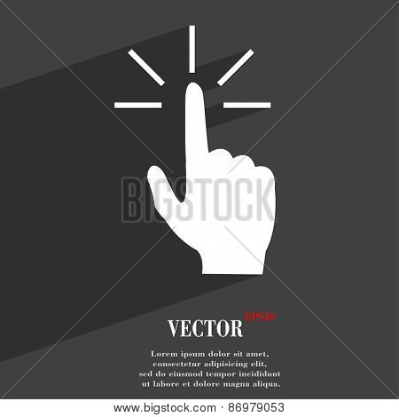 Click Here Hand Icon Symbol Flat Modern Web Design With Long Shadow And Space For Your Text. Vector
