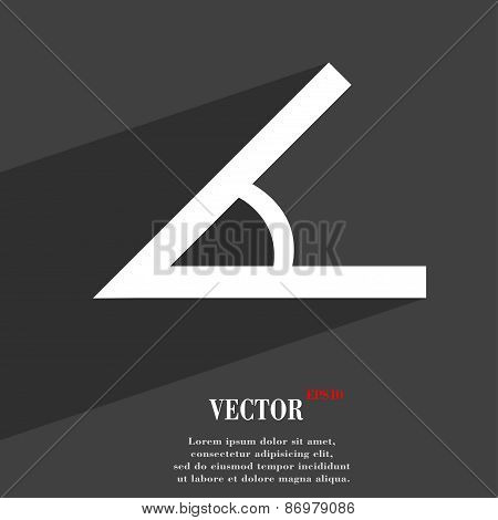 Angle 45 Degrees Icon Symbol Flat Modern Web Design With Long Shadow And Space For Your Text. Vector