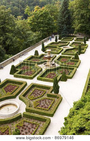 The Regular Garden At Ksiaz Castle In Walbrzych City, Poland
