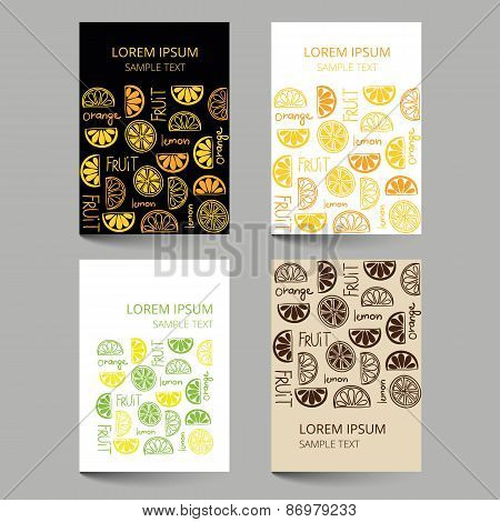 Document Template With Fruit Citrus Pattern