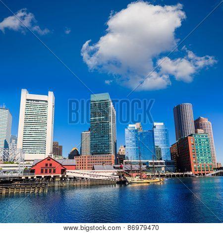 Boston skyline from Fan Pier at sunlight in Massachusetts USA