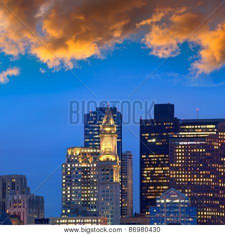 Boston skyline at sunset Custom tower Clock tower in Massachusetts USA
