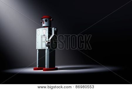 Lonely, Old Tin Toy Robot Faces The Light