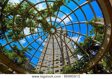 Boston skyscrapers from Norman Leventhal Park plants dome in Massachusetts USA