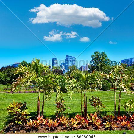 Boston Common park gardens and skyline in Massachusetts USA