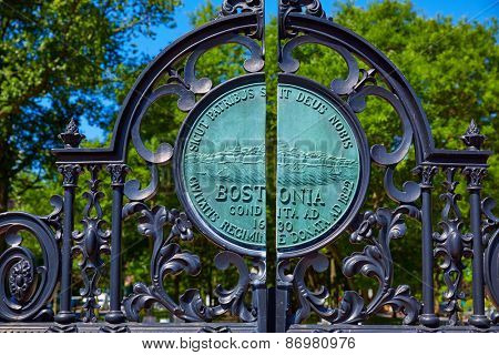 Boston Common Arlington St gate in Massachusetts USA