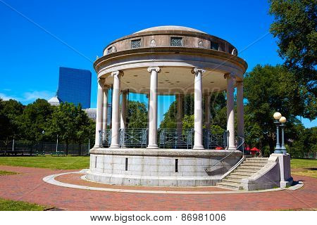 Boston Common Parkman Bandstand in sunlight at Massachusetts USA