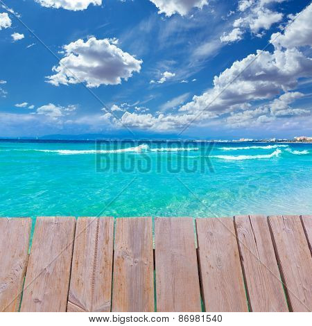 Majorca sArenal arenal beach Platja de Palma Llucmajor in mallorca deck photo mount