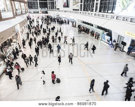 Passengers Inside Of Seoul Station.