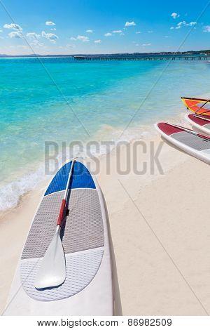 Platja de Alcudia beach Paddle surf board in Mallorca Majorca at Balearic islands