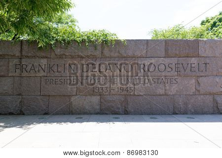 Franklin Delano Roosevelt Memorial in Washington DC USA