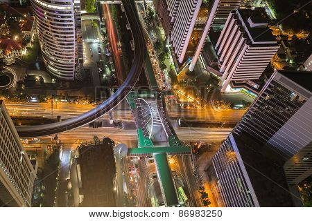 Birds eye view of Traffic in the business district
