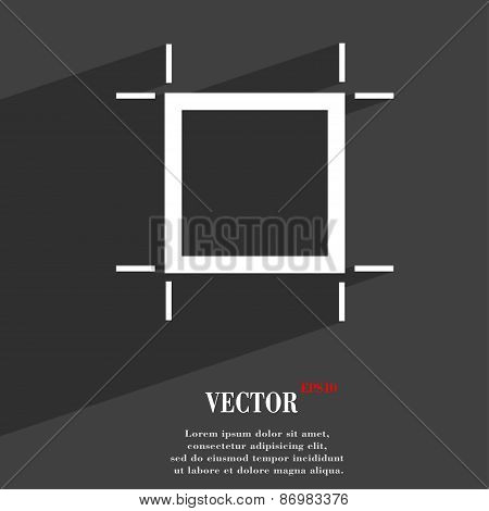 Crops And Registration Marks Icon Symbol Flat Modern Web Design With Long Shadow And Space For Your
