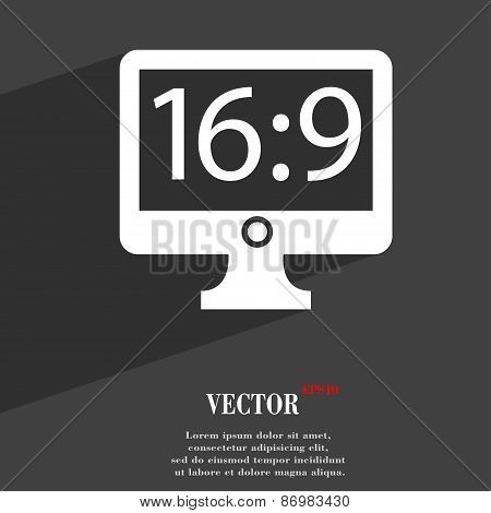 Aspect Ratio 16 9 Widescreen Tv Icon Symbol Flat Modern Web Design With Long Shadow And Space For Yo