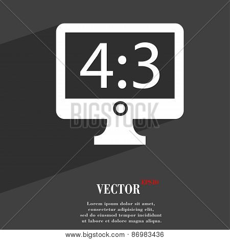 Aspect Ratio 4 3 Widescreen Tv Icon Symbol Flat Modern Web Design With Long Shadow And Space For You