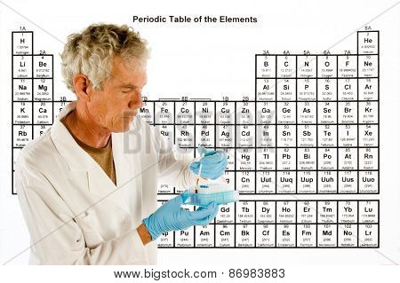 Chemical engineer or doctor with laboratory equipment in front of a Periodic table of elements