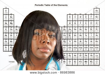 Female doctor or scientist in front of a periodic table of elements