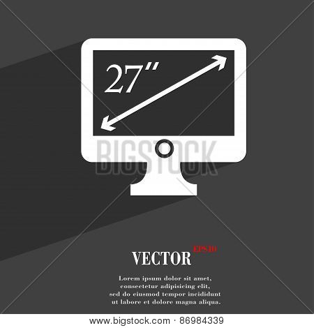Diagonal Of The Monitor 27 Inches Icon Symbol Flat Modern Web Design With Long Shadow And Space For