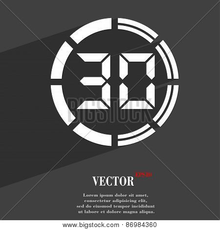 30 Second Stopwatch Icon Symbol Flat Modern Web Design With Long Shadow And Space For Your Text. Vec