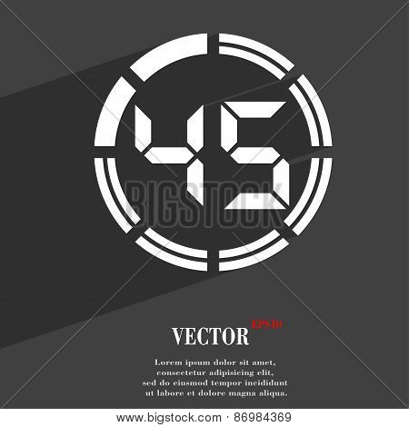 45 Second Stopwatch Icon Symbol Flat Modern Web Design With Long Shadow And Space For Your Text. Vec