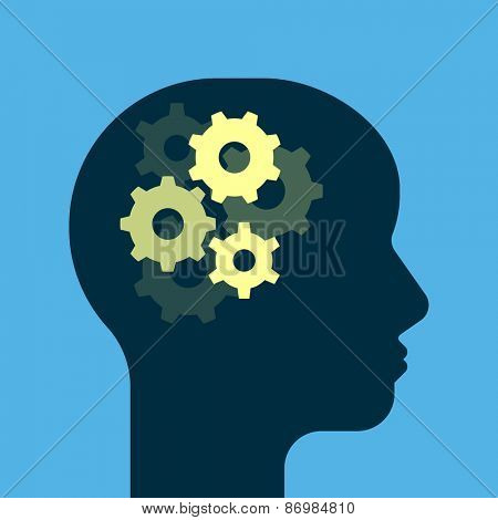 Gears working brain. Get smart. Human head silhouette. Flat style vector illustration