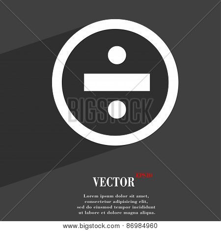 Dividing Icon Symbol Flat Modern Web Design With Long Shadow And Space For Your Text. Vector