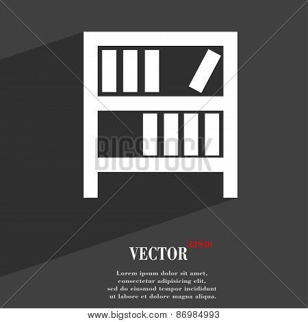 Bookshelf Icon Symbol Flat Modern Web Design With Long Shadow And Space For Your Text. Vector