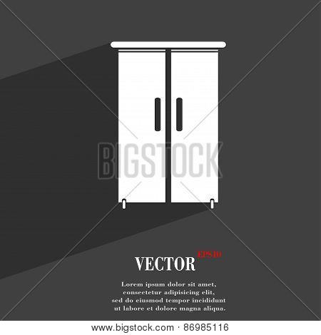 Cupboard Icon Symbol Flat Modern Web Design With Long Shadow And Space For Your Text. Vector