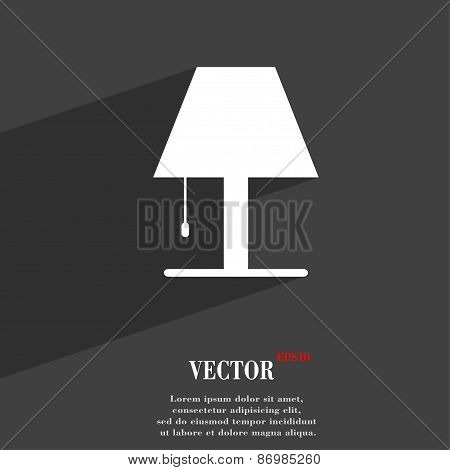 Lamp Icon Symbol Flat Modern Web Design With Long Shadow And Space For Your Text. Vector