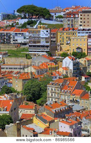 Cityscape from castle of Sao Jorge Castelo de Sao Jorge, Lisbon, Portugal