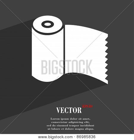 Toilet Paper, Wc Roll Icon Symbol Flat Modern Web Design With Long Shadow And Space For Your Text. V