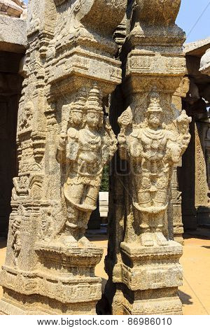 Statue of Lord Brahma & Vishnu at kalyana mandapa of Veerabhadra temple at Lepakshi,Andhra Pradesh