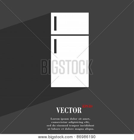 Refrigerator Icon Symbol Flat Modern Web Design With Long Shadow And Space For Your Text. Vector