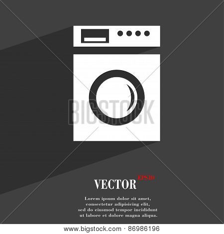 Washing Machine Icon Symbol Flat Modern Web Design With Long Shadow And Space For Your Text. Vector